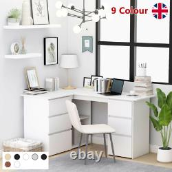 Corner Computer Desk L-Shape Home Office Study Table with Shelf and 6 Drawers UK
