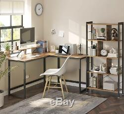 Corner Computer Desk Large Executive Workstation Industrial Rustic Gaming Table