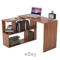 Corner Computer Desk with Shelves Home Office Workstation Writing Table Rotation