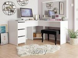 Corner Desk FOTYN Vanity Table Home Office L-shaped Computer Drawers Study