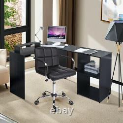 Corner L-Shaped Computer Desk PC Table Study Workstation Home Office with Shelves