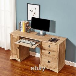 Corona Computer Desk Home Office Workstation Table Mexican Pine Chests Drawers