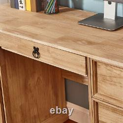 Corona Computer Desk Home Office Workstation Table Mexican Pine with 3 Drawers