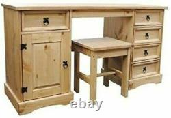 Corona Double Pedestal Computer Table or Dressing Table and Stool In Pine