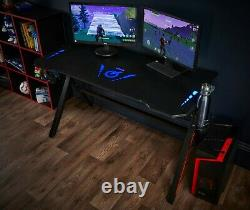 Customisable PC Gaming Office Desk RGB LED Lighting Computer Table Dual Monitor