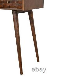 Dark Wooden Computer Table, Loft Style Writing Table Small Vintage Writing Desk