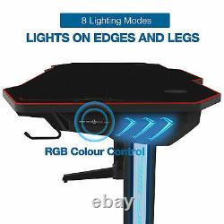 Desk Gaming Computer Table Office Home Holder Cup Workstation Racing Chair LED