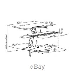 Desk PC Work Station Keyboard Screen Stand Adjustable Sitting Standing Table UK