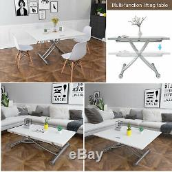 Dining Coffee Computer Table Study Desk Height Adjustable Gas Lift White Gift