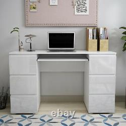Dressing Makeup Table Computer Work Home Office Desk with High Gloss 6 Drawers UK