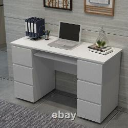 Dressing Table High Gloss Front Makeup Desk Computer Desk with 6 Large Drawers
