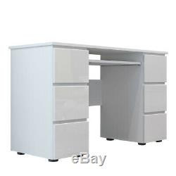 Dressing Table Makeup Desk Computer Desk with High Gloss Front & 6 Drawers UK