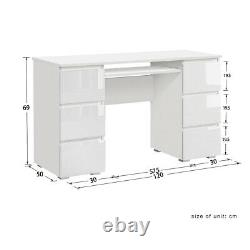 Dressing Table Study Vanity Makeup Desk with High Gloss 6 Drawers White