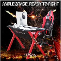 Ergonomic X-Shaped Gaming Desk Gaming Computer Table with LED Lights Adjust High