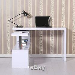Executive Corner Computer Desk High Gloss Tables Bookcase Home Office Shelving