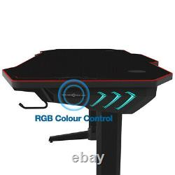Extra Large XL Computer Table PC Gaming Desk + RGB LED Lights Cup Holder Hanger