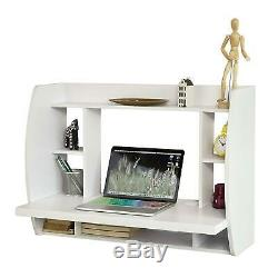 Floating Wall Mounted Computer Desk Home Office Table Storage Shelves White