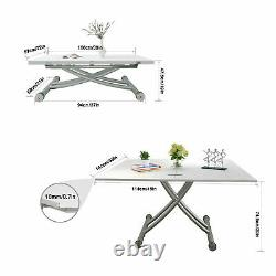 Folding Wood Coffee Table Study Writing Computer Desk Dining Table Wheels White