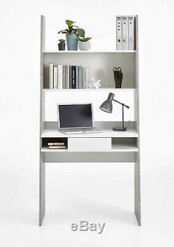 Gala Concrete Grey And White Bookcase Desk Drawers Table Home Office Furniture