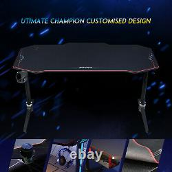 Gaming Computer Desk Black Racing Table Holder Free Mouse Pad Workstation Study