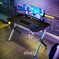 Gaming Computer Desk PC Table with LED Lights Cup Holder Headphone Hook