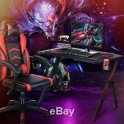 Gaming Computer Table Racing Desk with Cup Holder Headphone Hook & Cable Basket