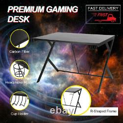 Gaming Computer Table with Headset & Cup Holder Laptop Desk Study Workstation