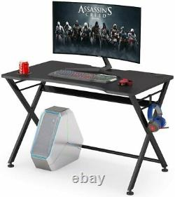 Gaming Desk Computer PC Table Workstation with Headphone Hook & Cup Holder Office