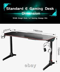 Gaming Desk Computer Table Office Home Workstation LED Study Cup Holder Racing