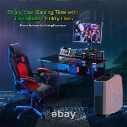 Gaming Desk Computer Table with Cup Holder Shelf Black Home Office Racing Gaming