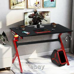 Gaming Desk Computer Table with Headphone Hook & Cup Holder Home Office WOODY