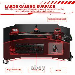 Gaming Desk Home Office Computer Racing Table With Hook Cup Holder Box & Mouse Mat