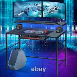 Gaming Desk with LED RGB light PC Computer Table Carbon Fibre Metal Racing Office