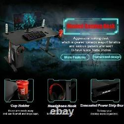 Gaming Table 60inch Black Computer Racing Desk with Cup Holder Headphone Hook UK