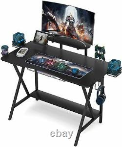 Gaming Table Computer Racing Desk with Cup Holder & Headphone Hook & Audio Stand