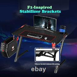 Gaming Table LED Black Computer Racing Desk RGB with Cup Holder Headphone Hook