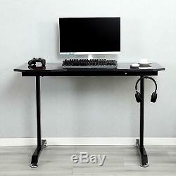 Gaming Table with Cable Port Computer Desk Workstation Headphone Hanger