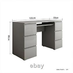 Grey Dressing Table High Gloss 6 Drawers Laptop PC Desk Home Office Table