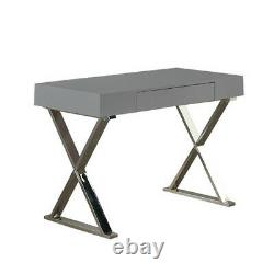 Grey High Gloss Computer Desk withDrawer Dressing Table Home Office Workstation