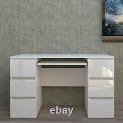 Grey White Dressing Table High Gloss Drawers Laptop PC Desk Home Office Table UK