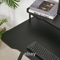 HOMCOM Gaming Computer Desk Writing Table with Headphone Hook Curved Front