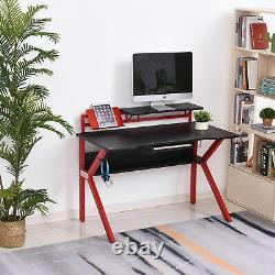 HOMCOM Gaming Desk Computer Table with Cup Holder Headphone Hook, Cable Basket Red