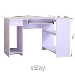 HOMCOM Table Computer Desk Corner Desk Furniture Workstation With Drawer