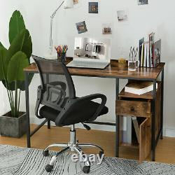 HOOBRO Study Writing Table Computer Desk with Drawer and Storage Cabinet Vintage
