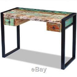 Handmade Solid Reclaimed Wood Computer Desk Table Sideboard with 2 Drawers Retro