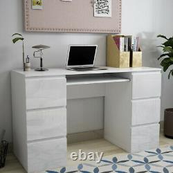 High Gloss Computer Desk Study Writing Table with Drawers PC Dressing Table Unit