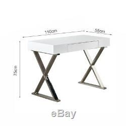 High Gloss Desk Home Office Workstation Console Table Computer PC Modern Drawer