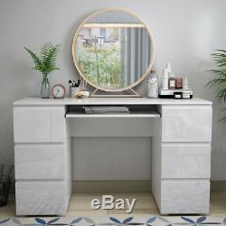 High Gloss Dressing Table with 6 Drawer Bedroom Large PC Desk Home Study Office