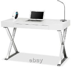 High Gloss White Computer Desk withDrawer Dressing Table Home Office Workstation