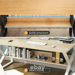 Home Office Computer Desk Study PC Writing Gaming Table Workstation Wooden&Metal